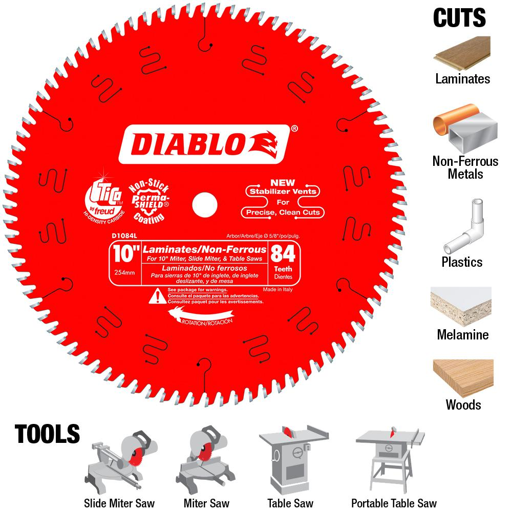 Diablo 10 in x 84 teeth laminatenon ferrous metal cutting saw diablo 10 in x 84 teeth laminatenon ferrous metal cutting saw blade d1084l the home depot greentooth Choice Image