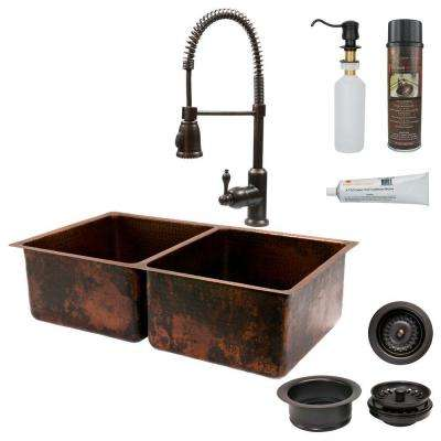 All-in-One Dual Mount Copper 33 in. 0-Hole Double Basin Kitchen Sink in Oil Rubbed Bronze