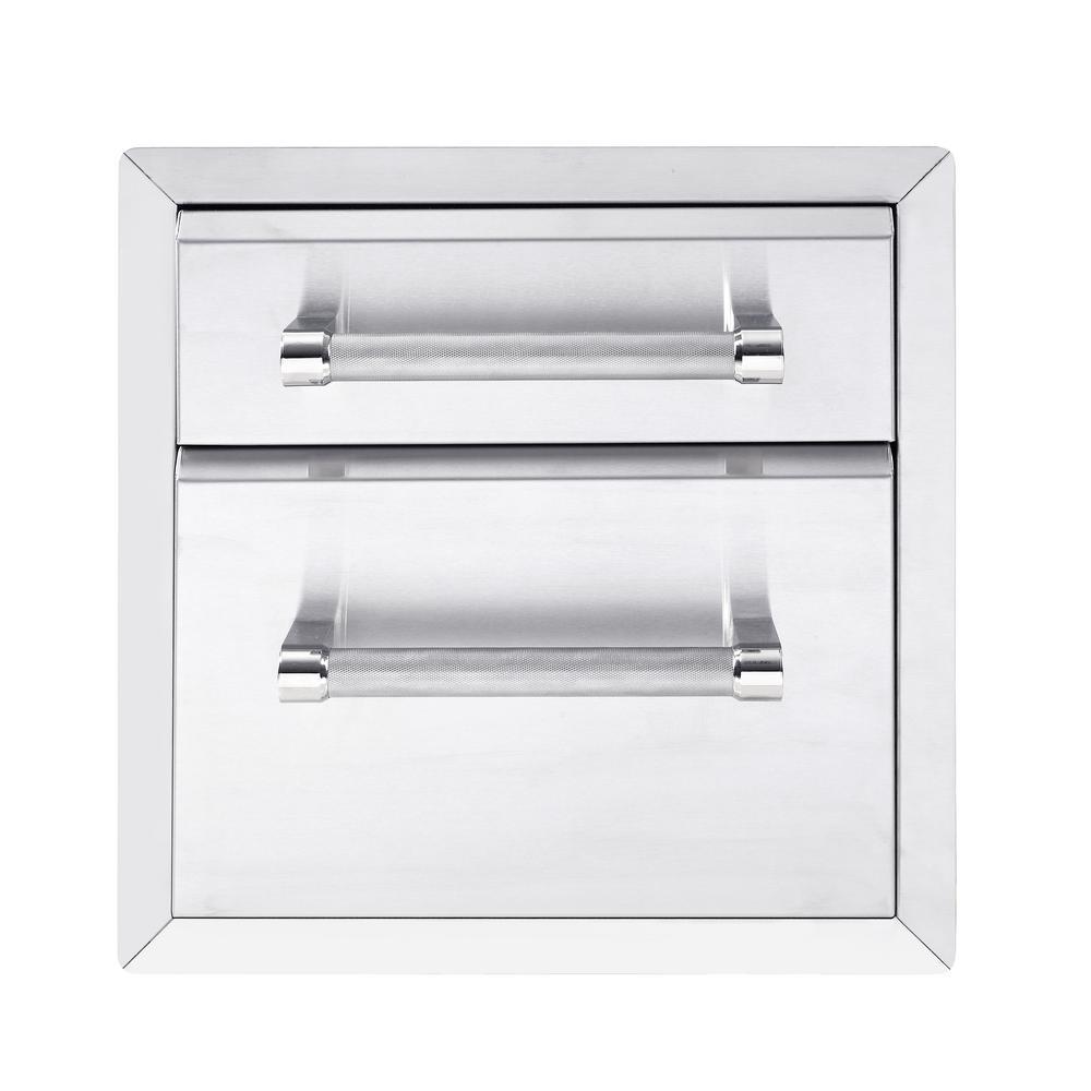 KitchenAid 18 inch Outdoor Kitchen Built-In Grill Cabinet 2 Drawer Storage by KitchenAid
