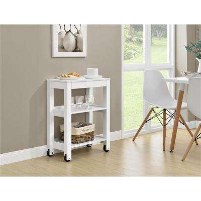 Parsons Wide White Storage Cart