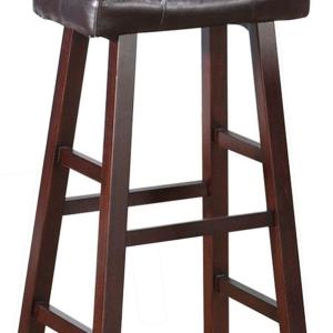 Miraculous Benjara 29 In Brown Leather Upholstered Wooden Bar Stool Caraccident5 Cool Chair Designs And Ideas Caraccident5Info