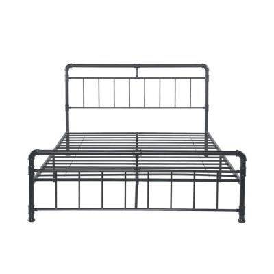 Mowry Industrial Queen-Size Charcoal Gray Iron Bed Frame