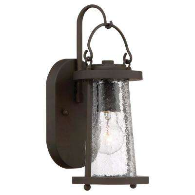 Haverford Grove Collection 1-Light Oil Rubbed Bronze Finish Outdoor Wall Mount Lantern with Clear Crackle Glass