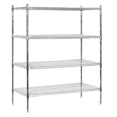 60 in. W x 74 in. H x 24 in. D Industrial Grade Welded Wire Stationary Wire Shelving in Chrome