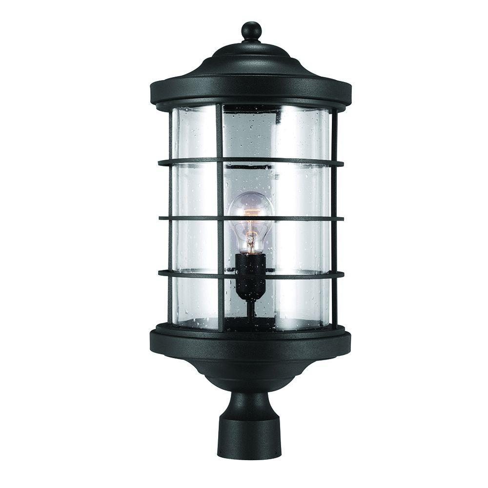 Sea Gull Lighting Sauganash 1 Light Outdoor Black Post Lantern With Clear Seeded Gl
