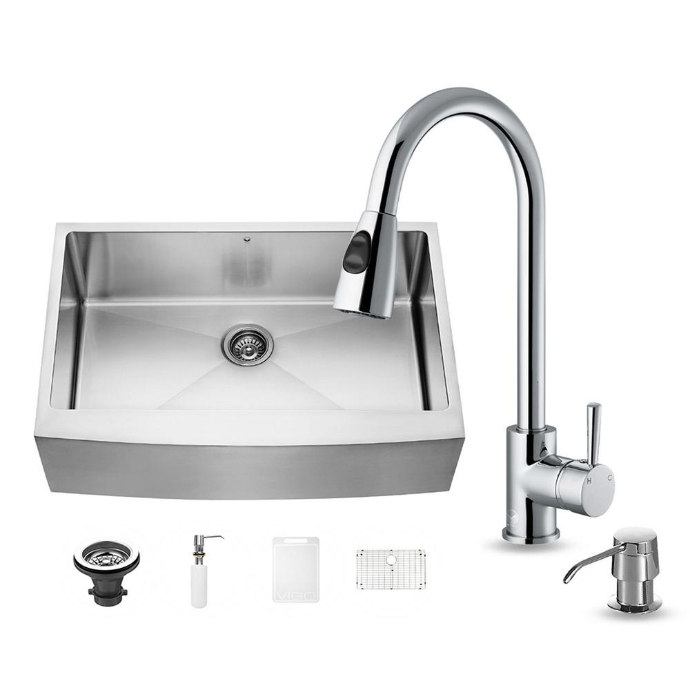 VIGO All-in-One Farmhouse Apron Front Stainless Steel 33 in. 0-Hole Single Basin Kitchen Sink and Faucet Set