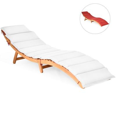 Natural Folding Wood Outdoor Lounge Chair with Red/White Cushion