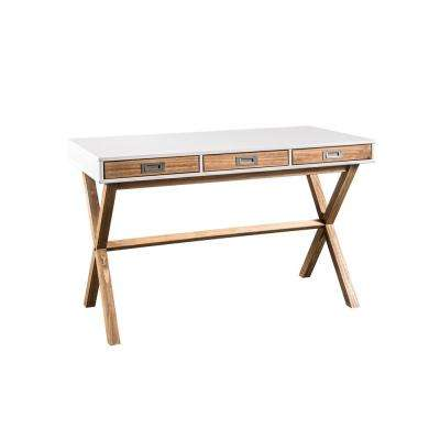Barclay 2.0 2-Drawer White and Natural Wood Coffee Table