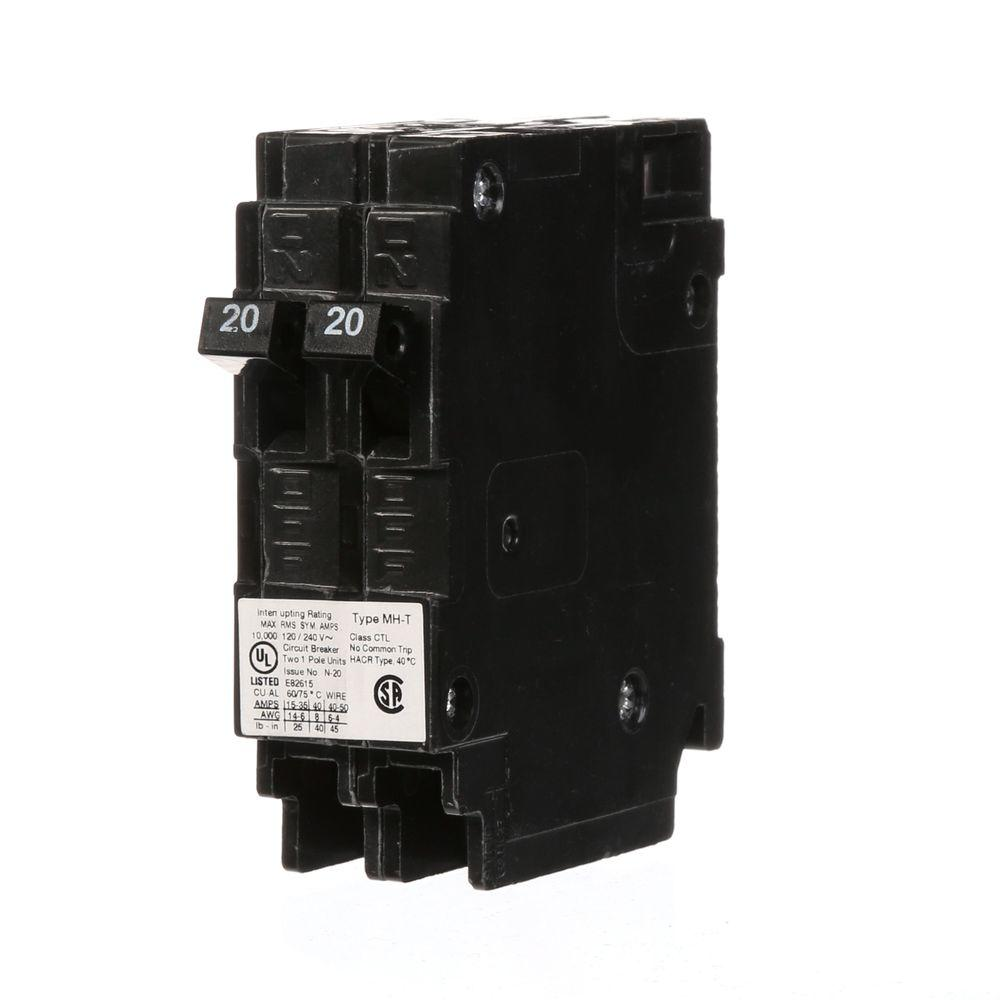 murray 2 20 amp tandem single pole type mh t circuit breaker rh homedepot  com