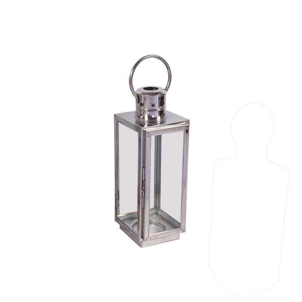 16 in. Chrome Square Small Lantern