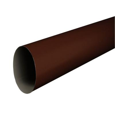 4 in. Royal Brown Aluminum Plain Round 10 ft. Downspout