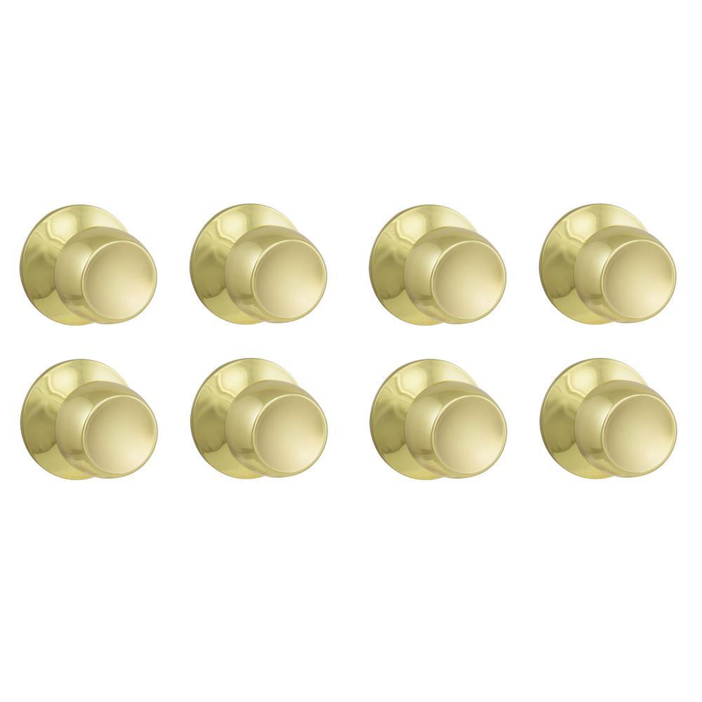 Brandywine Polished Brass Hall/Closet Door Knob Value Pack (8-Pack)