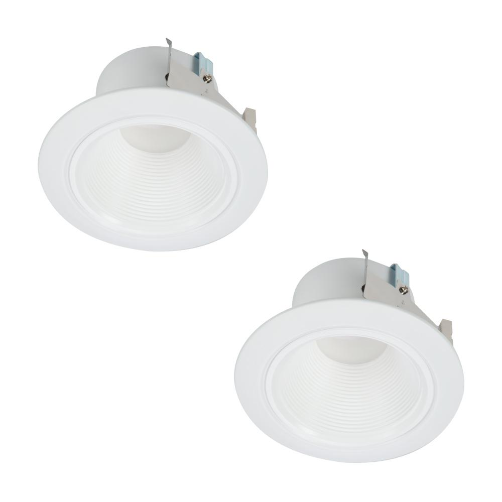 Halo 4 In White Integrated Led Recessed Ceiling Light Retrofit Trim At 3000k Soft Low Glare Deep Baffle 2 Pack