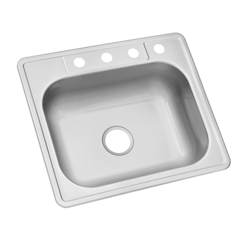Glacier Bay Drop-In Stainless Steel 25 in. 4-Hole Single Bowl Kitchen Sink