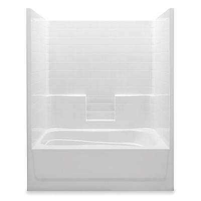 Everyday 60 in. x 42 in. x 74 in. Left Drain 1-Piece Bath and Shower Kit in White
