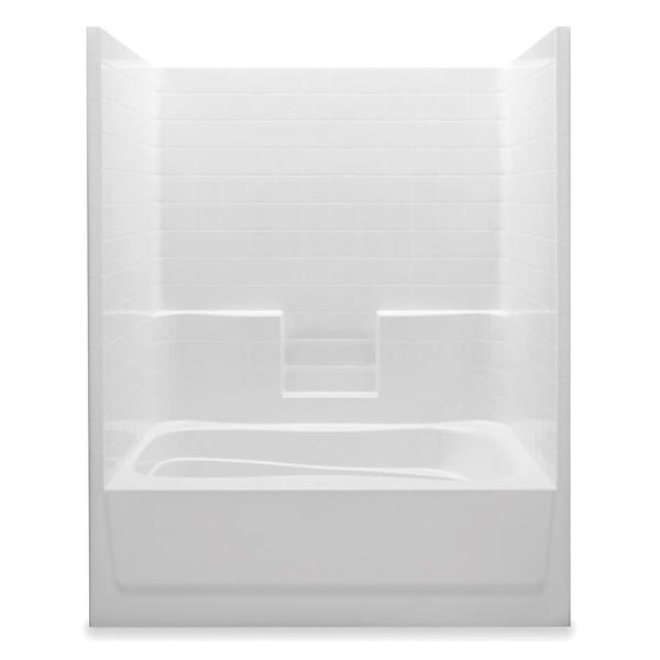 Everyday 60 in. x 42 in. x 74 in. 1-Piece Bath and Shower Kit with Left Drain in White