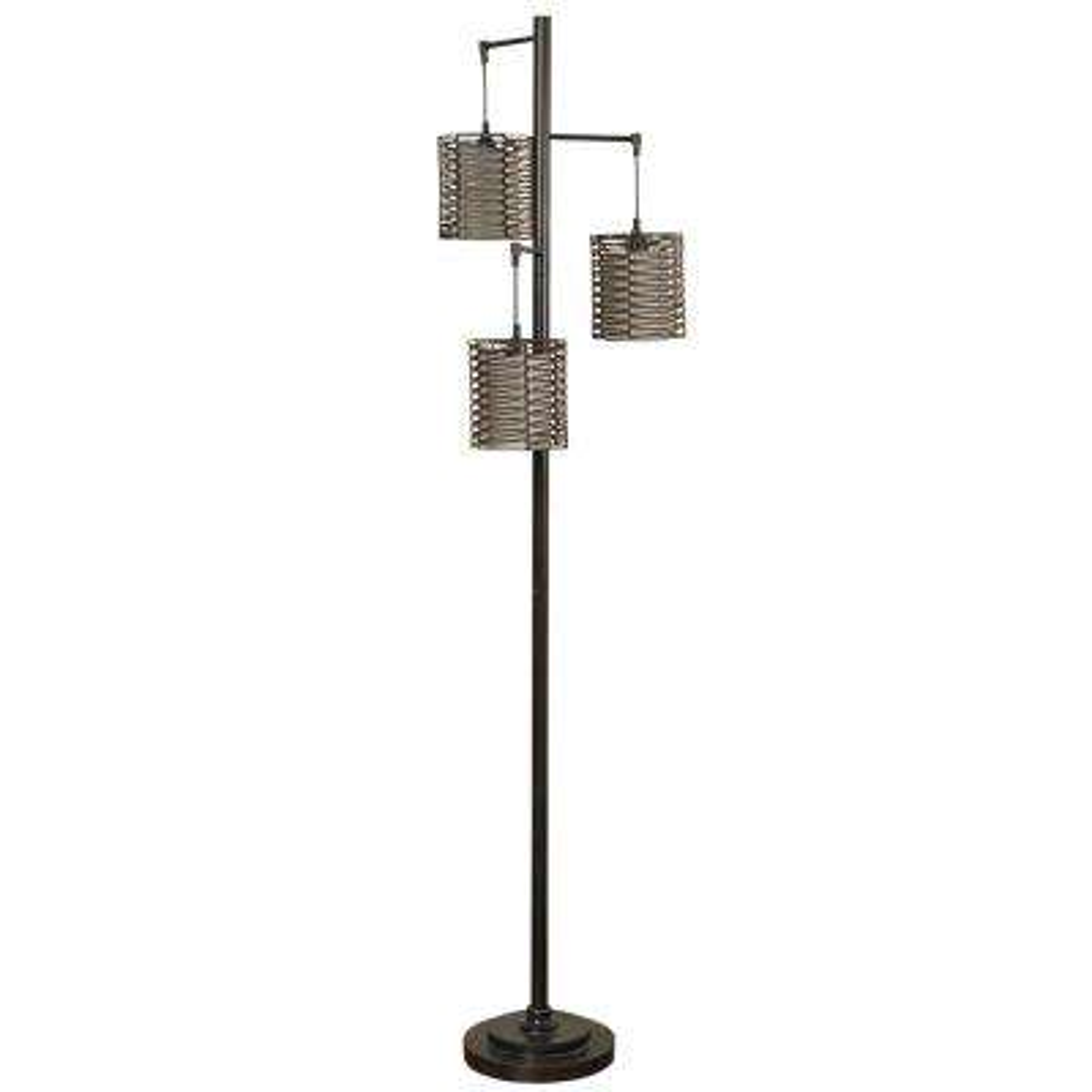 72 in. Bronze Floor Lamp with Brown Rattan Hardback Fabric Shade