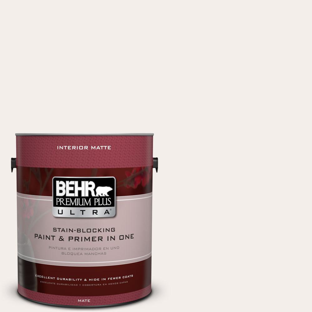 BEHR Premium Plus Ultra 1 gal. #RD-W8 Pink Mirage Matte Interior Paint