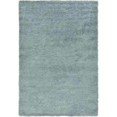Solid Shag Slate Blue 6 ft. x 9 ft. Area Rug