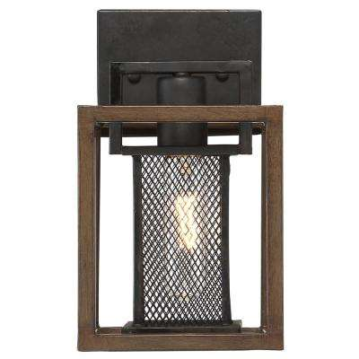 Rio Lobo 1-Light Dark Oak with Black Bath Light