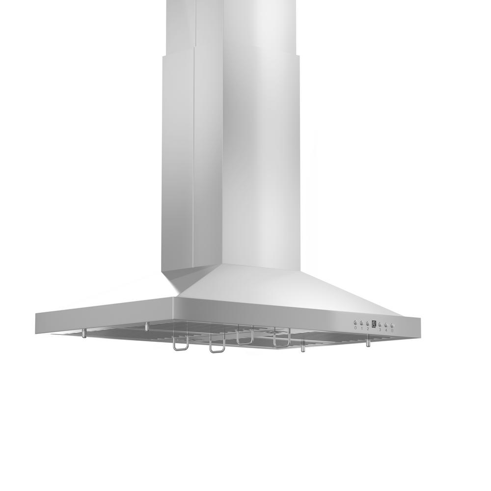 ZLINE Kitchen and Bath 42 in. 760 CFM Island Mount Convertible Range Hood in Stainless Steel ZLINE 42 in popular sleek style of Island Range Hood. Built for years of trouble free use. Easily Convertible to recirculating operation with purchase of carbon filters or standard configuration vents outside. Efficiently and quietly moves large volumes of air and fits ceilings up to 12 ft with the purchase of the proper ZLINE extensions. Color: Stainless.