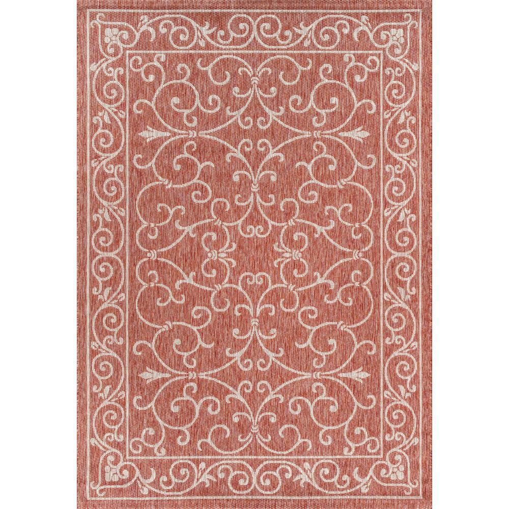 Charleston Vintage Filigree Red/Beige 5 ft. 3 in. x 7 ft. 7 in. Textured Weave Indoor/Outdoor Area Rug