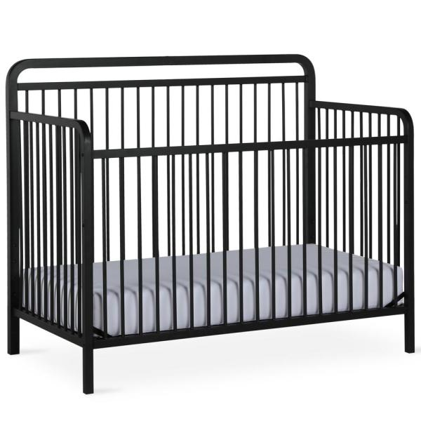 BABY RELAX Holly Matte Black 4-in-1 Convertible Metal Crib ...