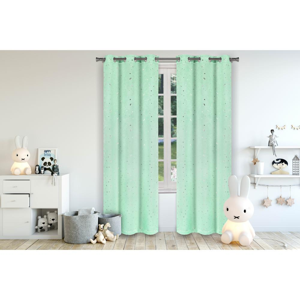 LALA + BASH Luna Seafoam Room Darkening Grommet Panel Pair - 37 in. W x 84 in. L (2-Piece)