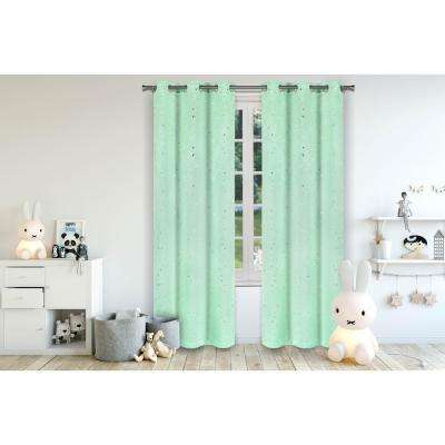 Luna Seafoam Room Darkening Grommet Panel Pair - 37 in. W x 84 in. L (2-Piece)