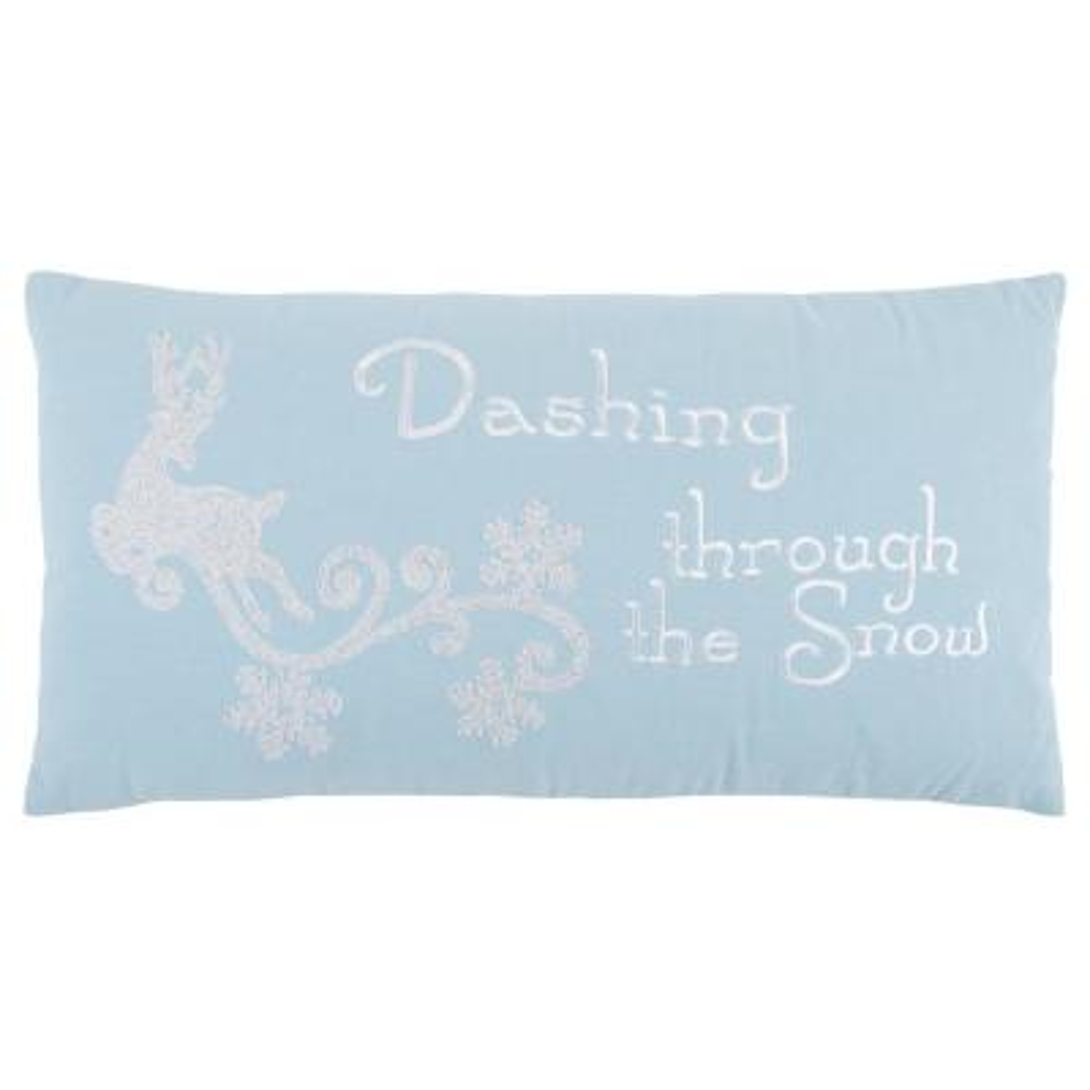 Christmas Dashing Through The Snow Polyester Standard Throw Pillow