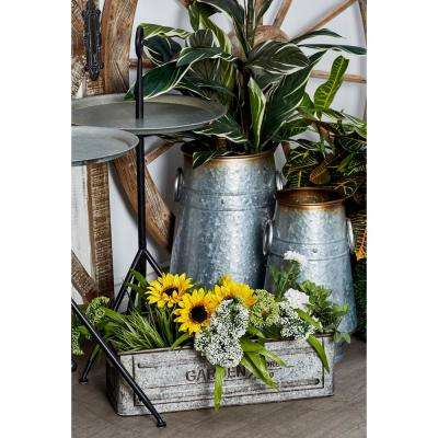 Silver Iron Planters with Gold Accents (Set of 3)