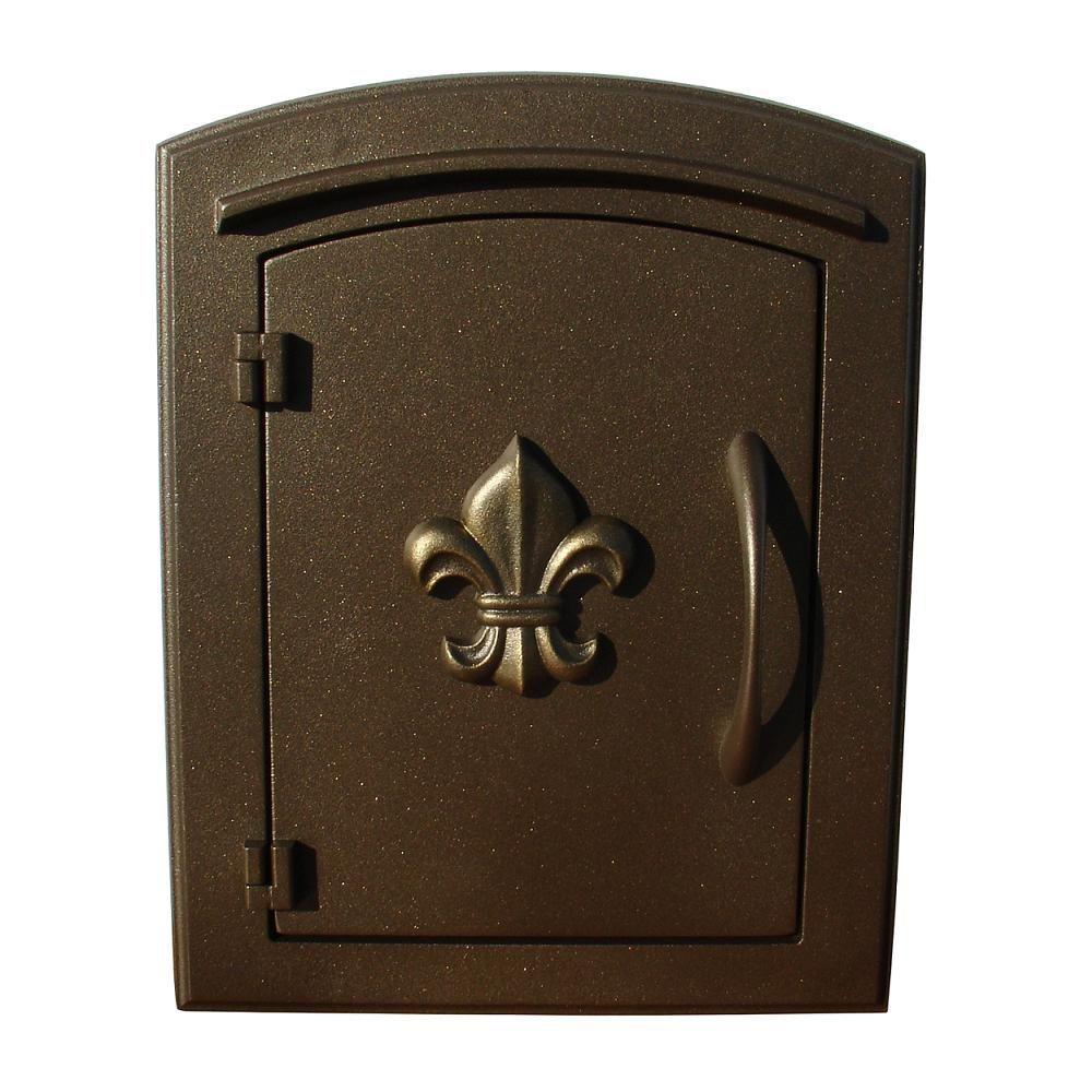Merveilleux QualArc Manchester Non Locking Column Mount Mailbox With Fleur De Lis Door