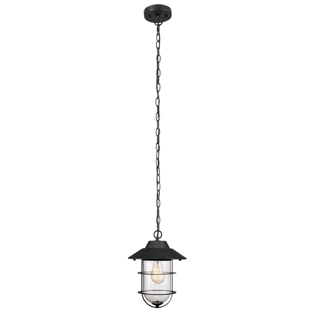Matthews Matte Black Outdoor/Indoor 1-Light Hanging Pendant with Seeded Glass Shade