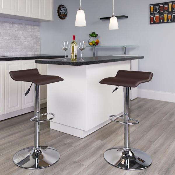 Flash Furniture 31.25 in. Adjustable Height Brown Cushioned Bar Stool