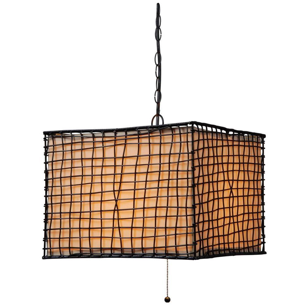 Trellis 1-Light 16 in. Bronze Outdoor Pendant