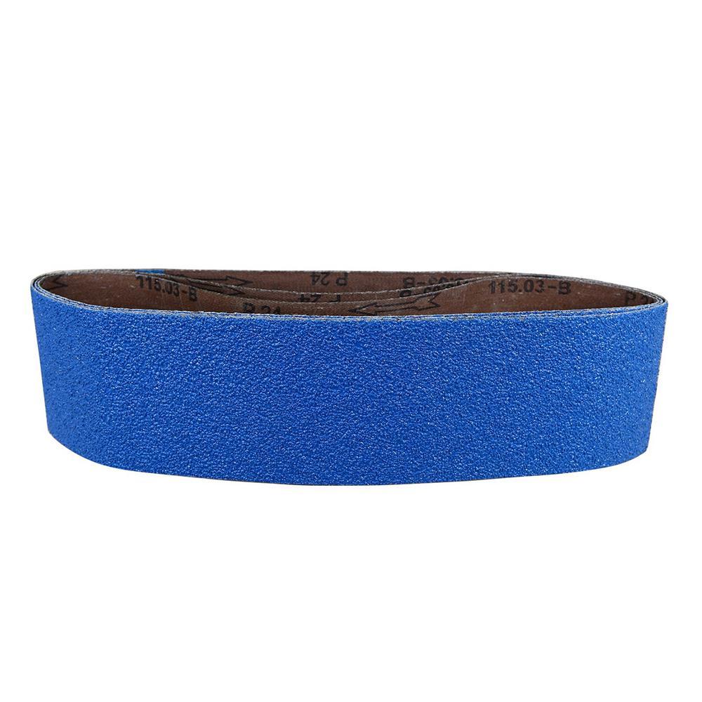 4 in. x 36 in. 120-Grit Metal Grinding Zirconia Sanding Belt (3-Pack)
