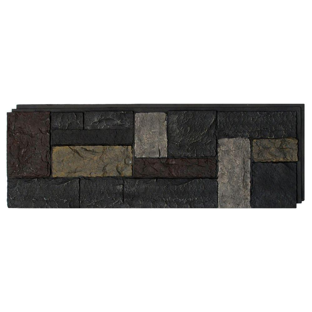 15 in. x 43 in. Castle Rock Ashford Charcoal Faux Stone