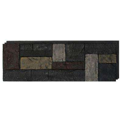 15 in. x 43 in. Castle Rock Ashford Charcoal Faux Stone Siding Panel (4-Pack)
