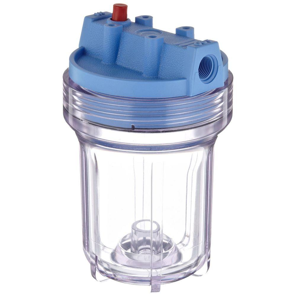 158110 3/8 in. Inlet/Outlet 5 in. Water Filter Housing - Clear/Blue
