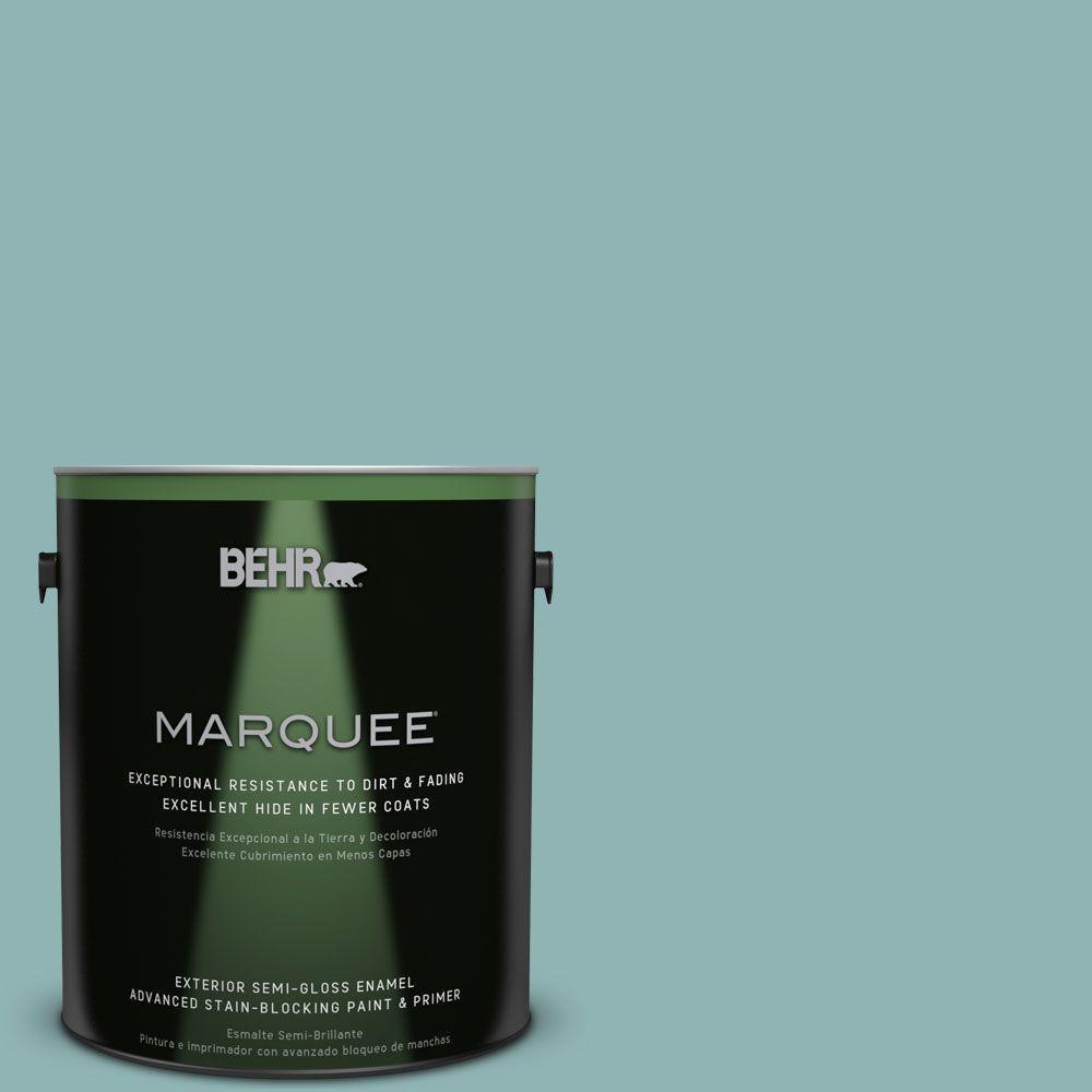BEHR MARQUEE 1-gal. #BIC-24 Artful Aqua Semi-Gloss Enamel Exterior Paint