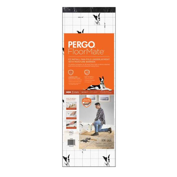 Pergo Floormate 100 Sq Ft 4 X 25 3 Mm Premium Foam Underlayment For Laminate And Floating Wood Floors Perflrmte The Home Depot