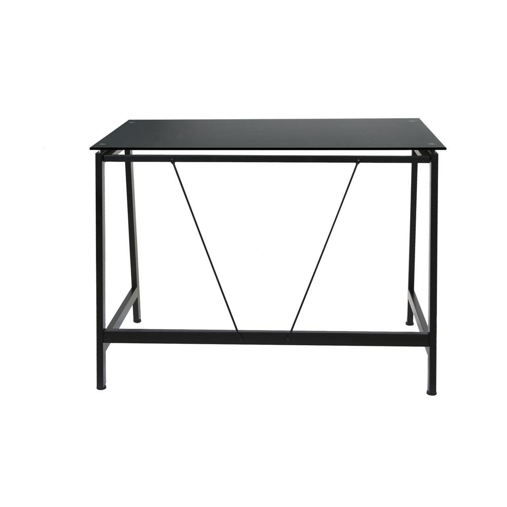 Onespace Contemporary Black Glass Writing Desk In Steel Frame