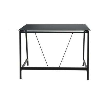 Contemporary Black Glass Writing Desk in Steel Frame