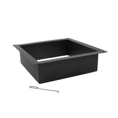 30 in. W x 10 in. H Square Steel Wood Burning Fire Pit Rim in Black (4-Piece)