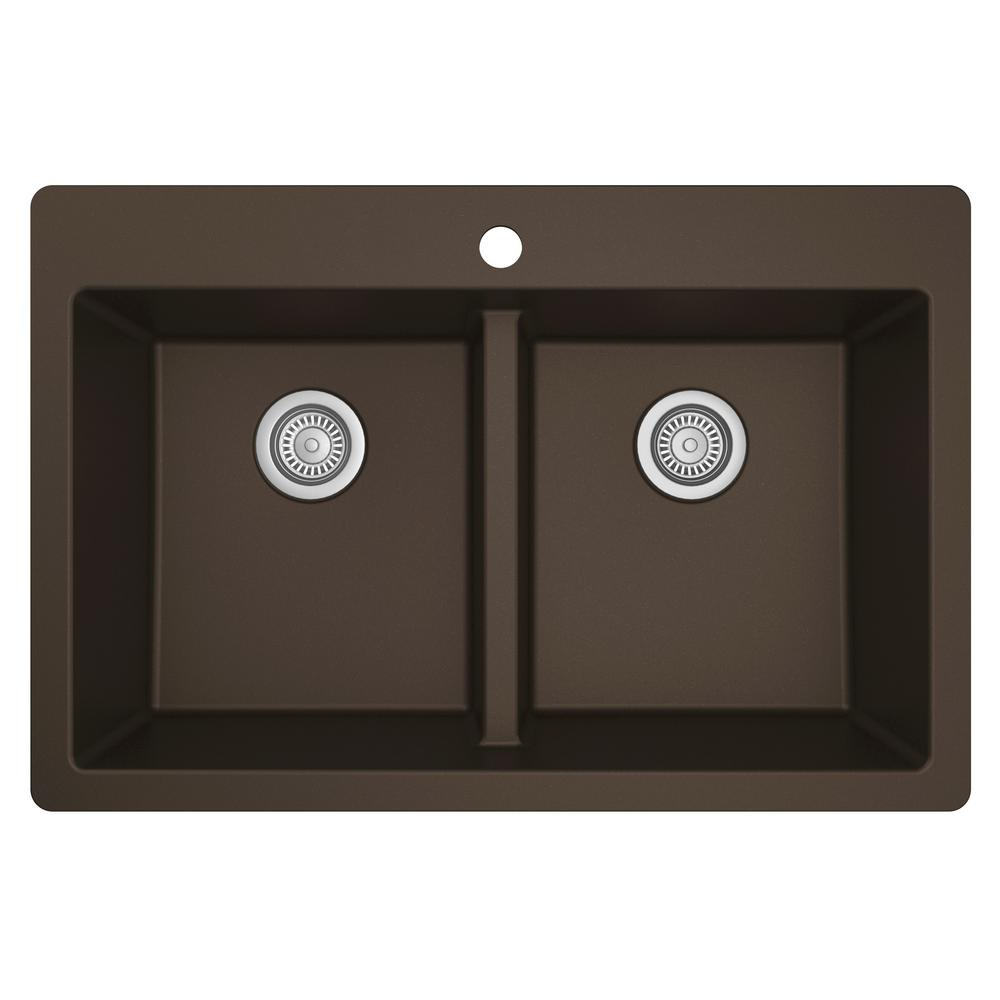 Karran Brown Quartz 33 in. 50/50  Double Bowl Composite Drop-in Kitchen Sink
