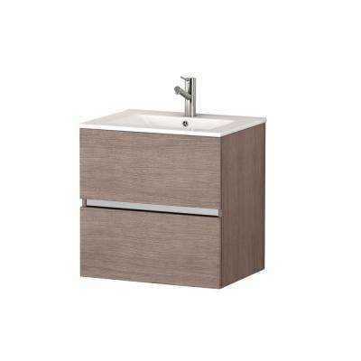 Ikaro 24 in. W x 18 in. D x 34 in. H Vanity in Medium Oak with Ceramic Vanity Top in White with White Basin