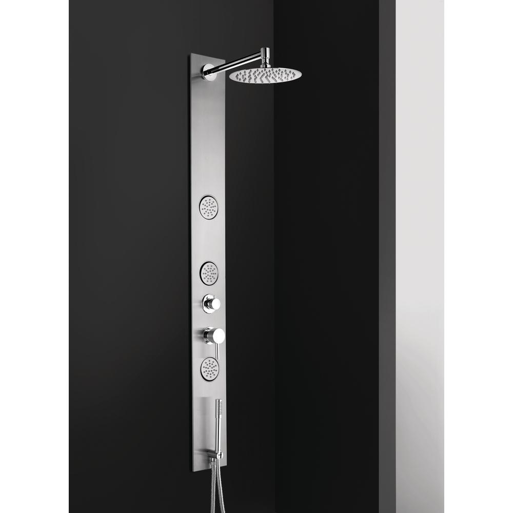 BOANN 8 in. Wall Shower Panel System in Stainless Steel with ...