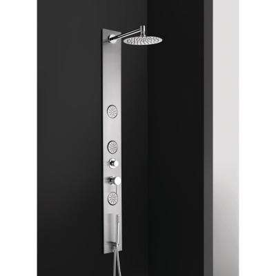 8 in. Wall Shower Panel System in Stainless Steel with Rainfall Shower Head (Valve Included)
