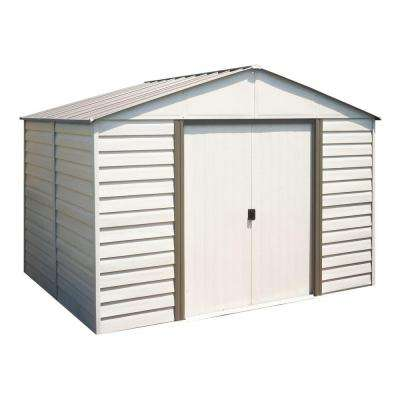 Milford 10 ft. x 8 ft. Vinyl-Coated Steel Storage Shed with Floor Kit
