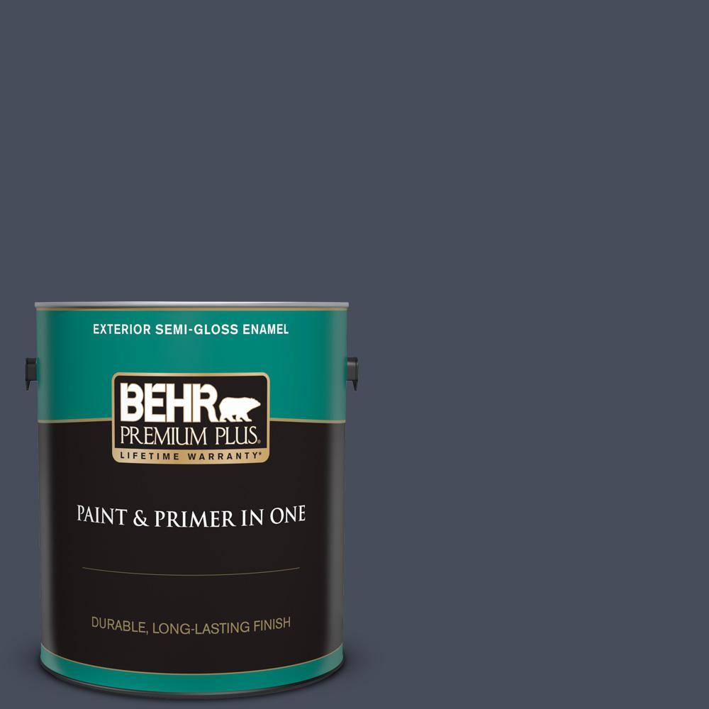 Behr Premium Plus 1 Gal S510 7 Dark Denim Semi Gloss Enamel Exterior Paint And Primer In One 534001 The Home Depot